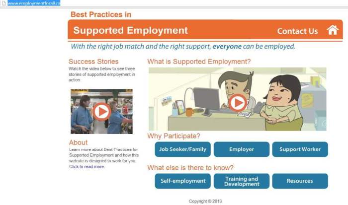 Supported employment website