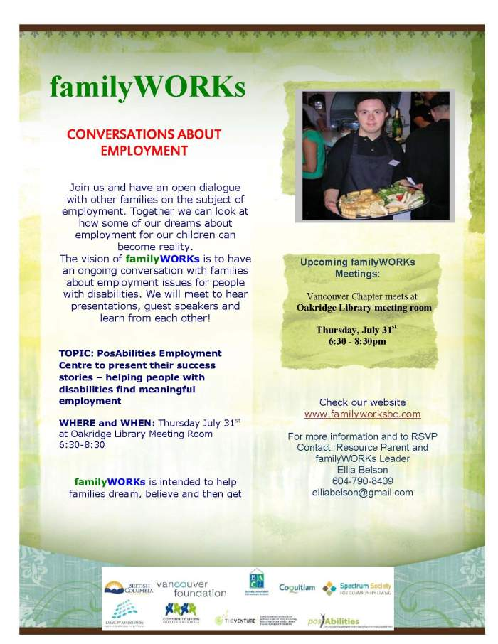 familyWORKs Burnaby July 23rd, 2014!